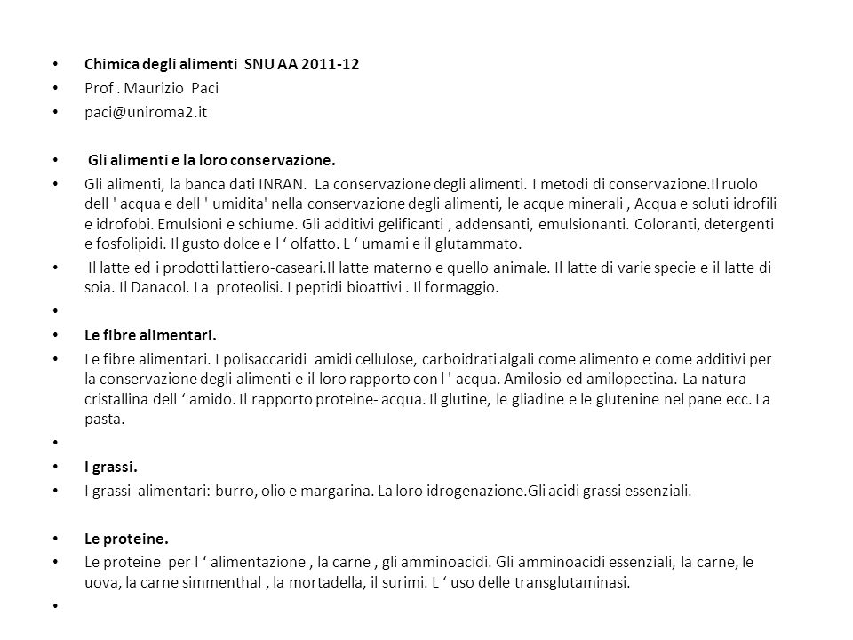 Chimica degli alimenti SNU AA 2011-12