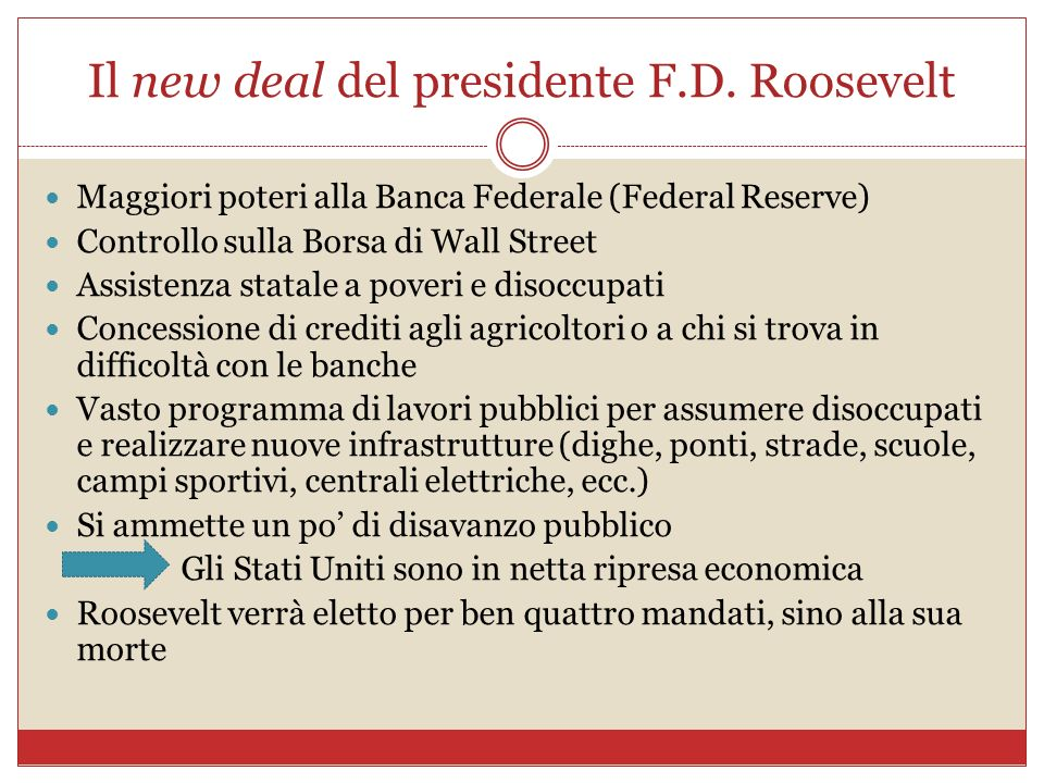 Il new deal del presidente F.D. Roosevelt