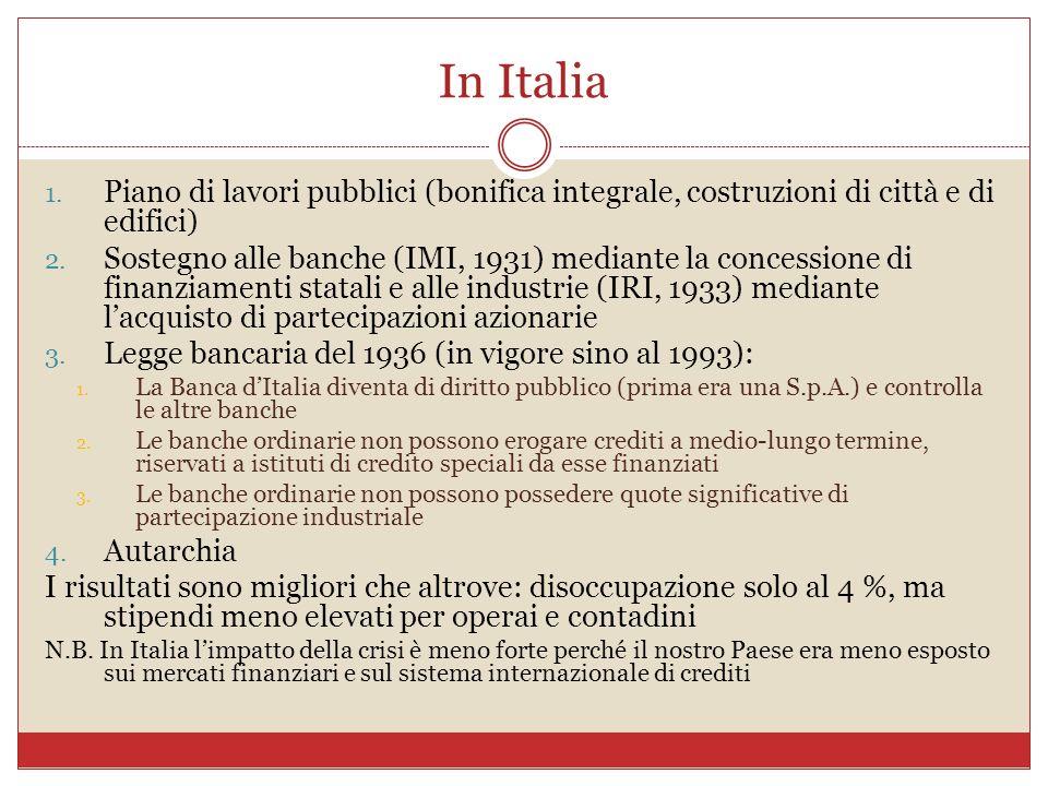 In Italia Piano di lavori pubblici (bonifica integrale, costruzioni di città e di edifici)