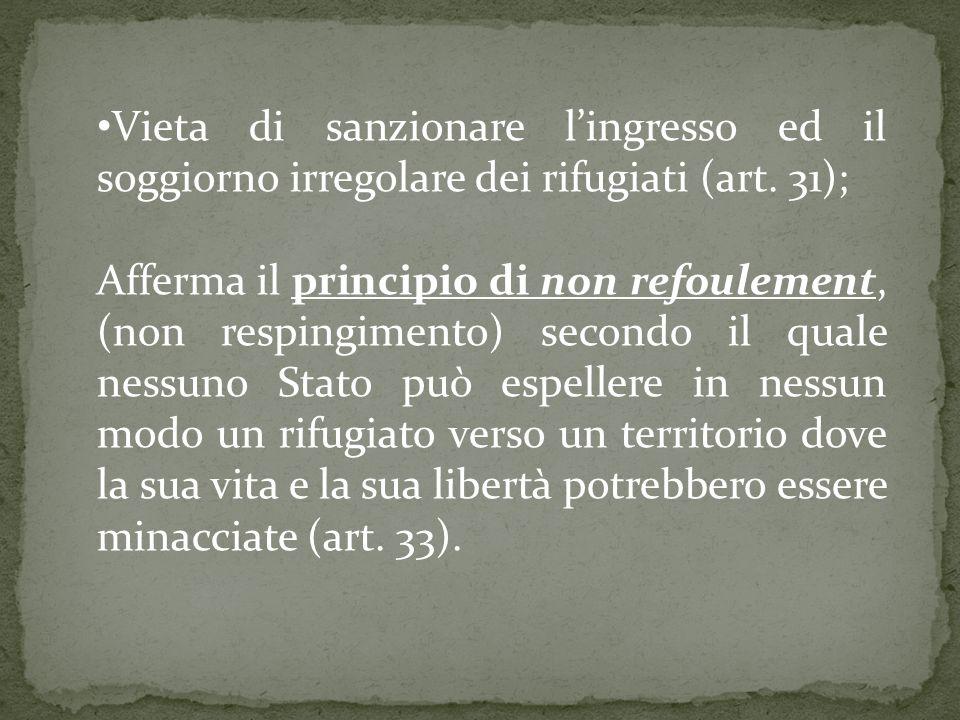 Vieta di sanzionare l'ingresso ed il soggiorno irregolare dei rifugiati (art. 31);