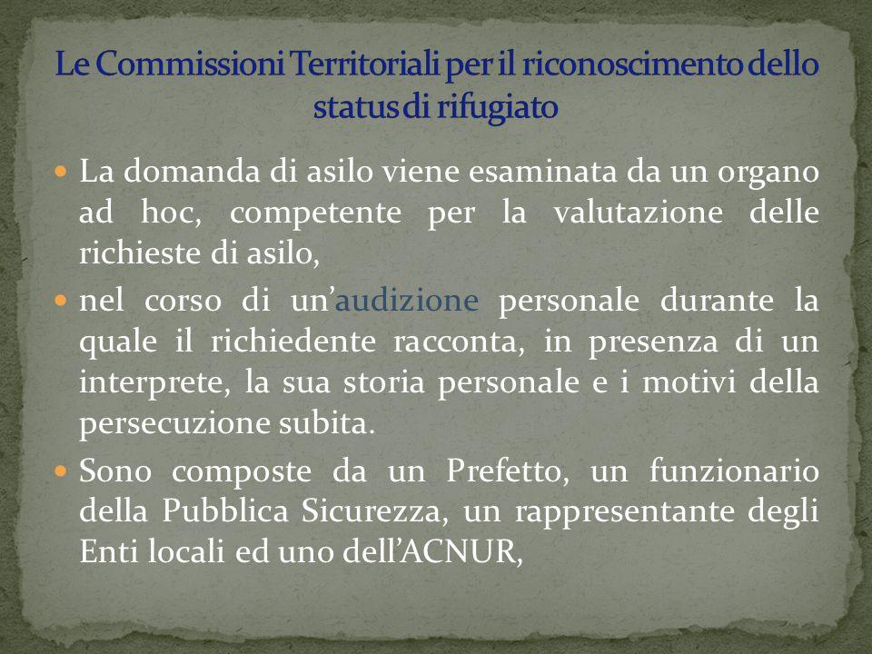 Le Commissioni Territoriali per il riconoscimento dello status di rifugiato