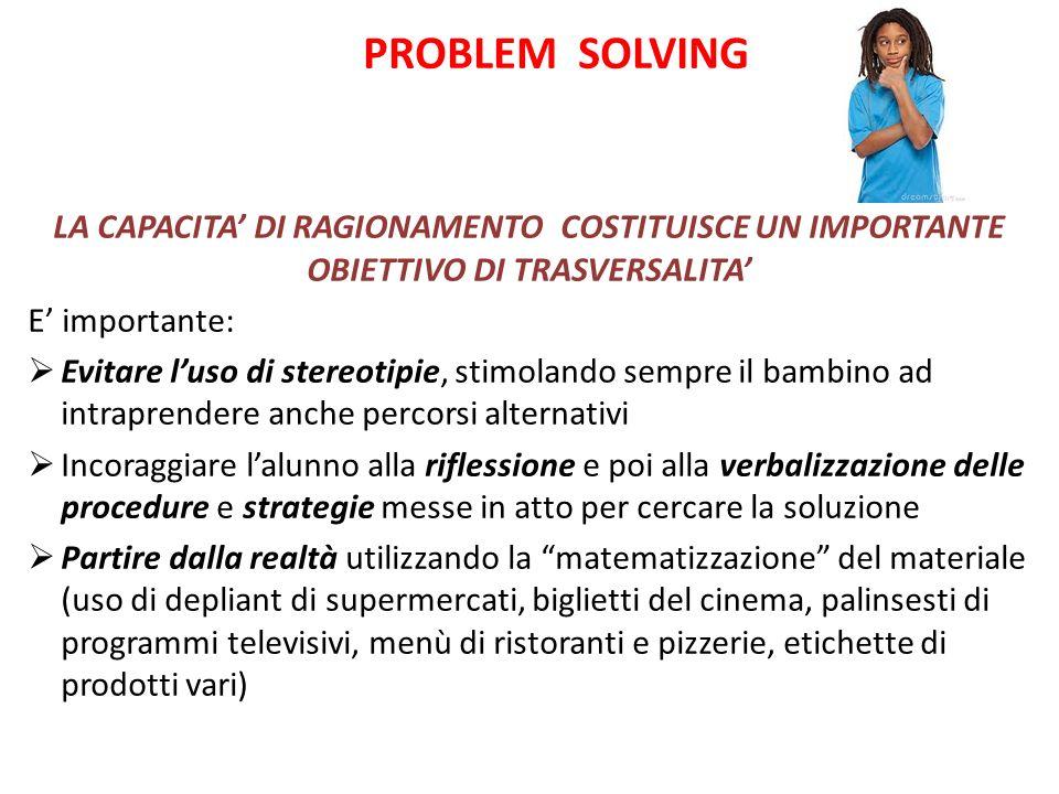 PROBLEM SOLVING LA CAPACITA' DI RAGIONAMENTO COSTITUISCE UN IMPORTANTE OBIETTIVO DI TRASVERSALITA'
