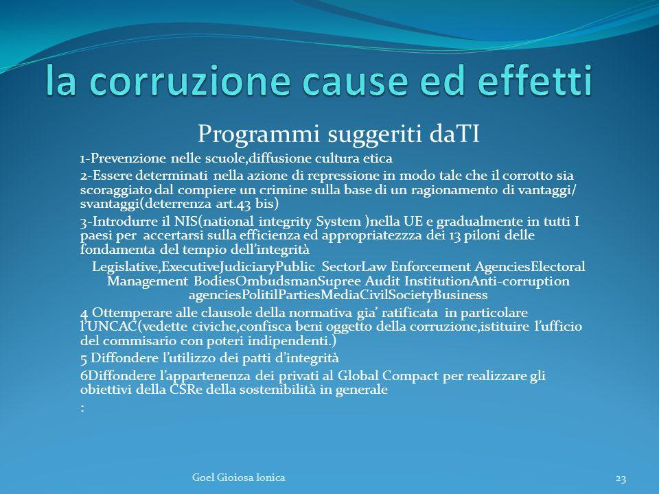 la corruzione cause ed effetti