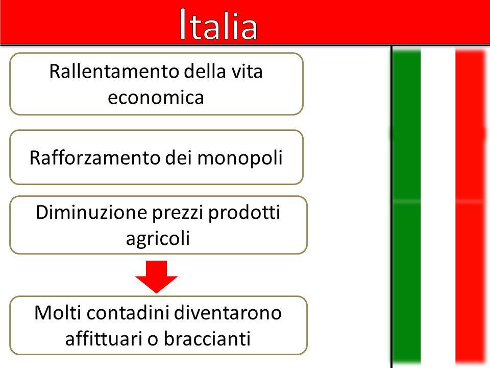 Italia Rallentamento della vita economica Rafforzamento dei monopoli