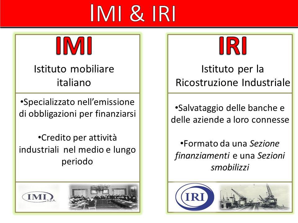 IMI & IRI IMI IRI Istituto mobiliare italiano