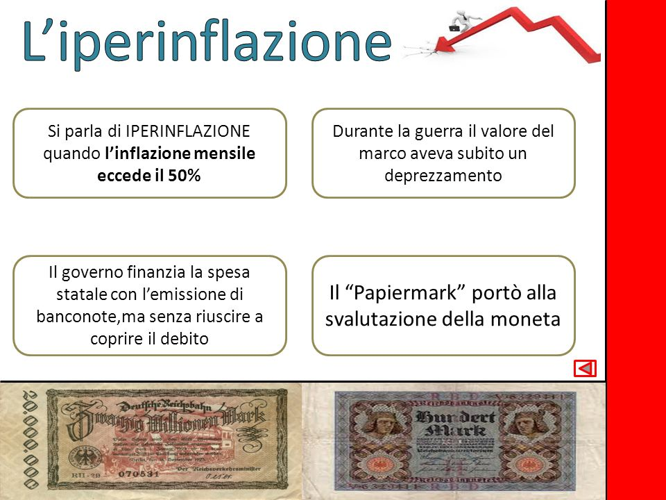 L'iperinflazione Il Papiermark portò alla svalutazione della moneta