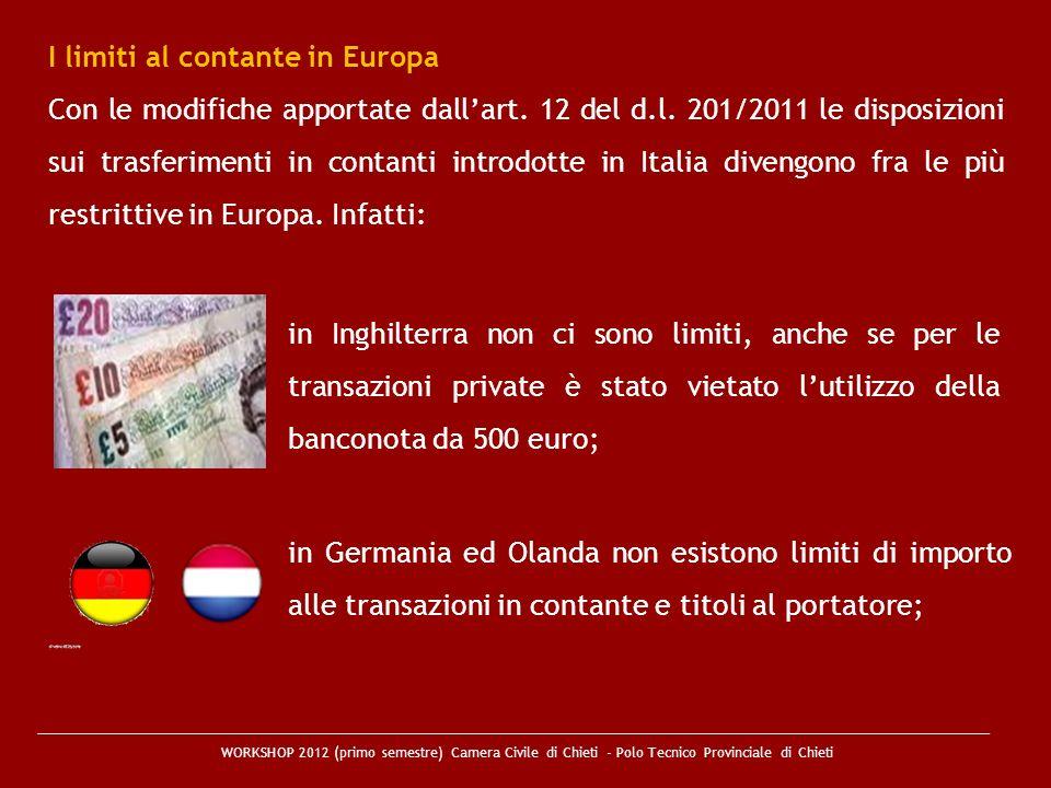 I limiti al contante in Europa