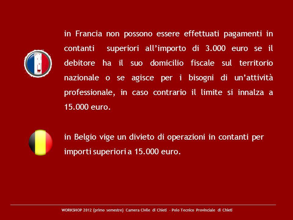in Francia non possono essere effettuati pagamenti in contanti superiori all'importo di 3.000 euro se il debitore ha il suo domicilio fiscale sul territorio nazionale o se agisce per i bisogni di un'attività professionale, in caso contrario il limite si innalza a 15.000 euro.
