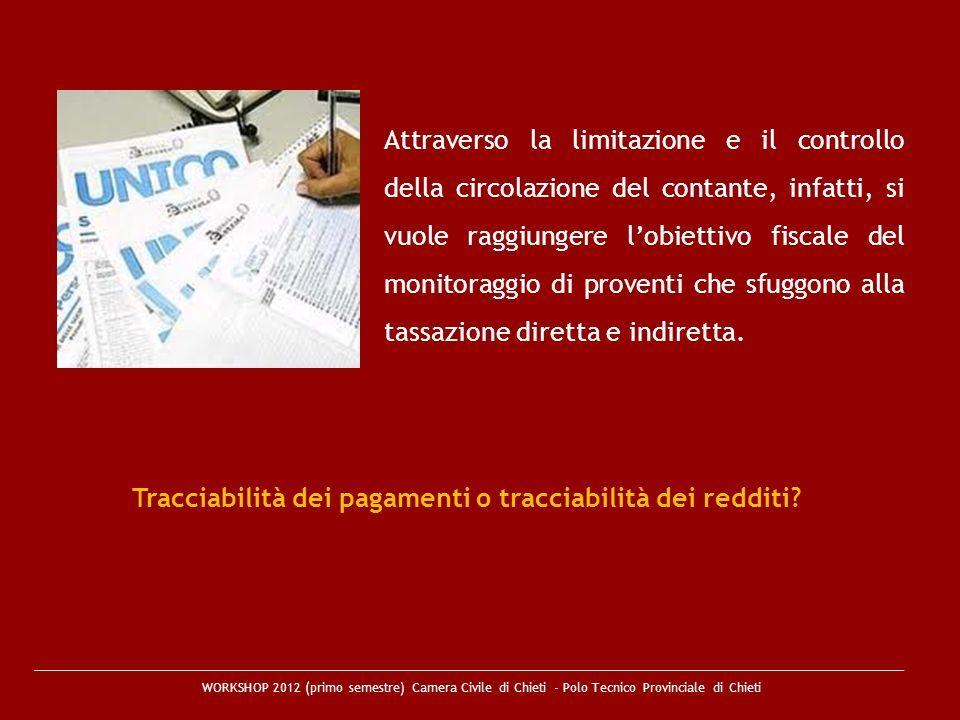 Tracciabilità dei pagamenti o tracciabilità dei redditi