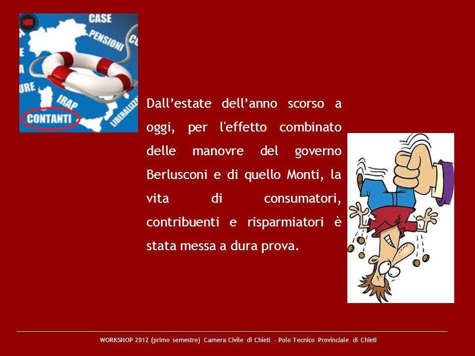 Dall'estate dell'anno scorso a oggi, per l effetto combinato delle manovre del governo Berlusconi e di quello Monti, la vita di consumatori, contribuenti e risparmiatori è stata messa a dura prova.