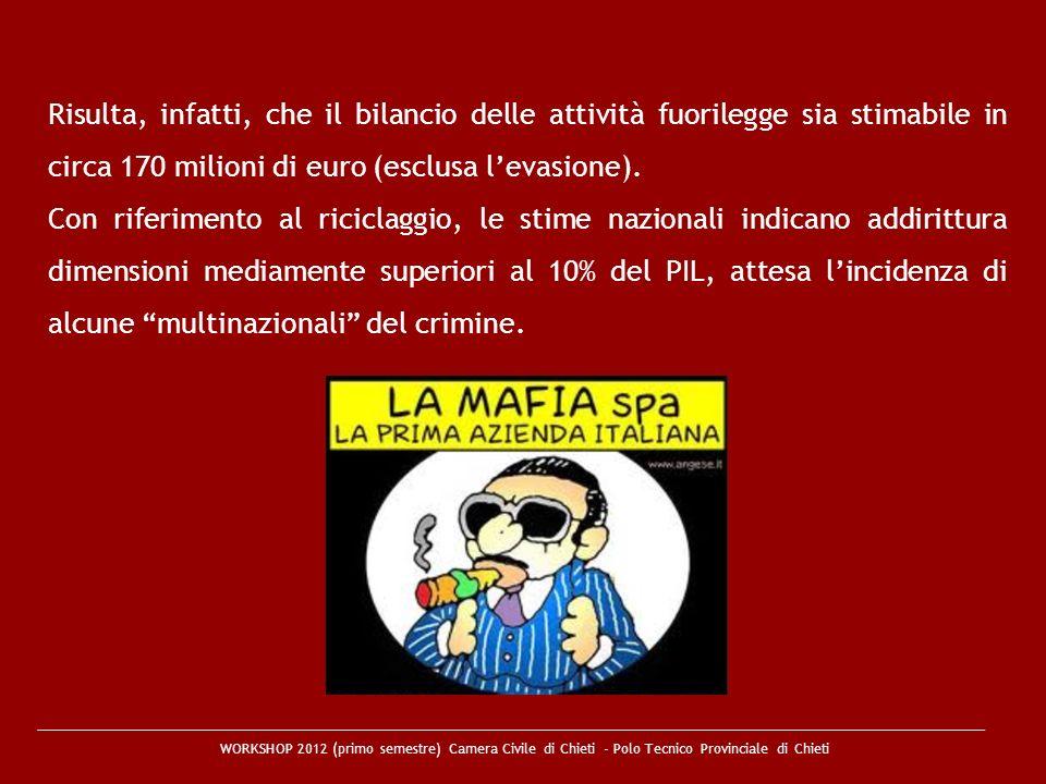 Risulta, infatti, che il bilancio delle attività fuorilegge sia stimabile in circa 170 milioni di euro (esclusa l'evasione).
