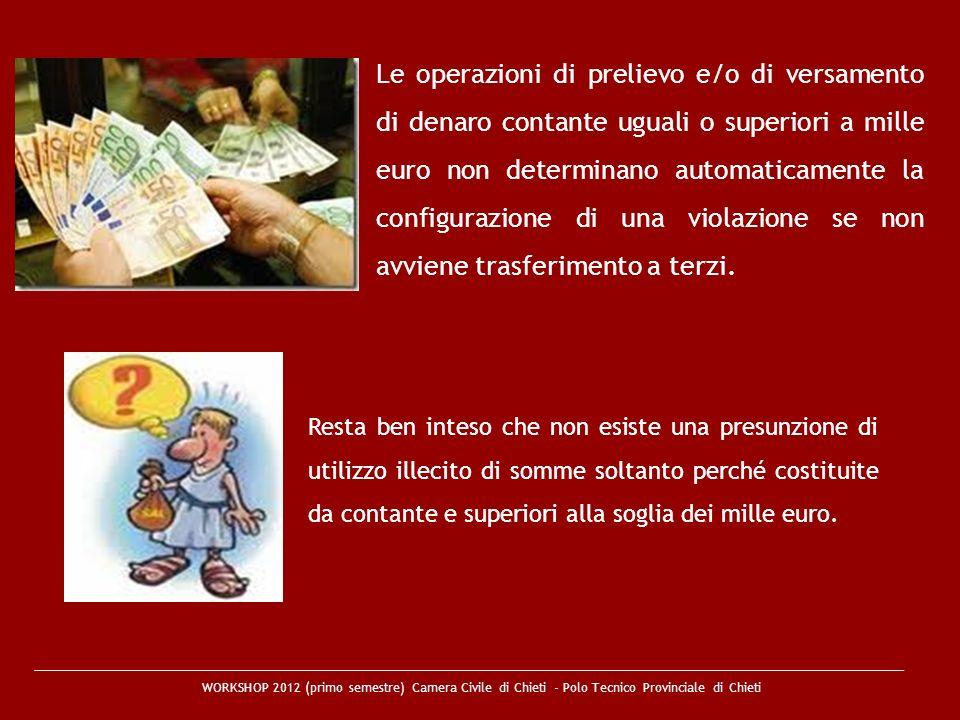 Le operazioni di prelievo e/o di versamento di denaro contante uguali o superiori a mille euro non determinano automaticamente la configurazione di una violazione se non avviene trasferimento a terzi.