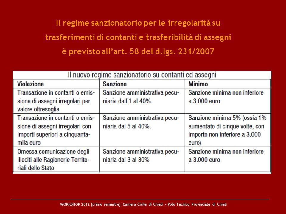 Il regime sanzionatorio per le irregolarità su trasferimenti di contanti e trasferibilità di assegni è previsto all'art. 58 del d.lgs. 231/2007