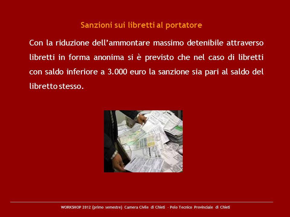 Sanzioni sui libretti al portatore