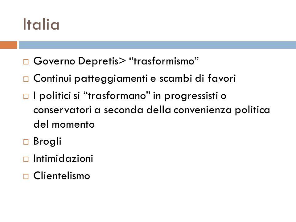 Italia Governo Depretis> trasformismo