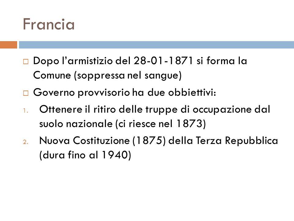 FranciaDopo l'armistizio del 28-01-1871 si forma la Comune (soppressa nel sangue) Governo provvisorio ha due obbiettivi: