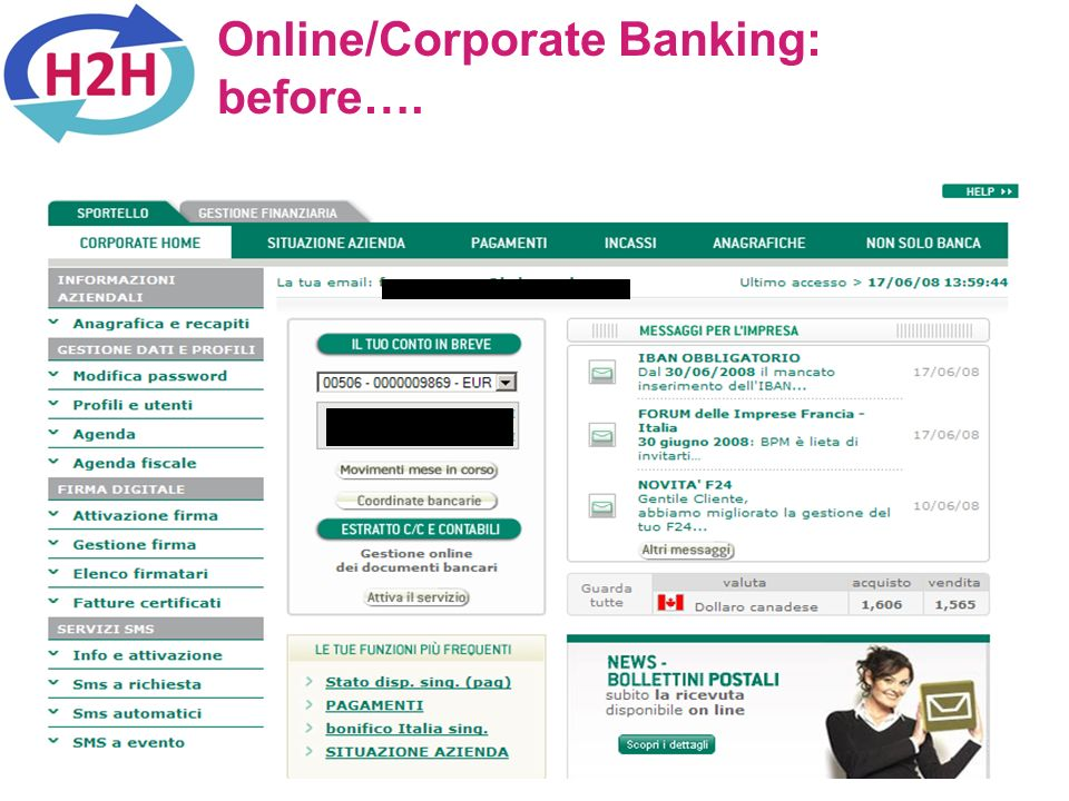 Online/Corporate Banking: before….