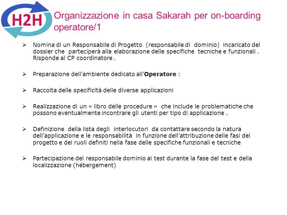 Organizzazione in casa Sakarah per on-boarding operatore/1