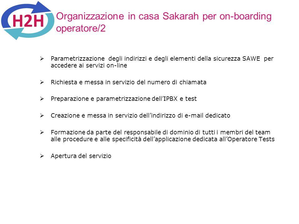 Organizzazione in casa Sakarah per on-boarding operatore/2