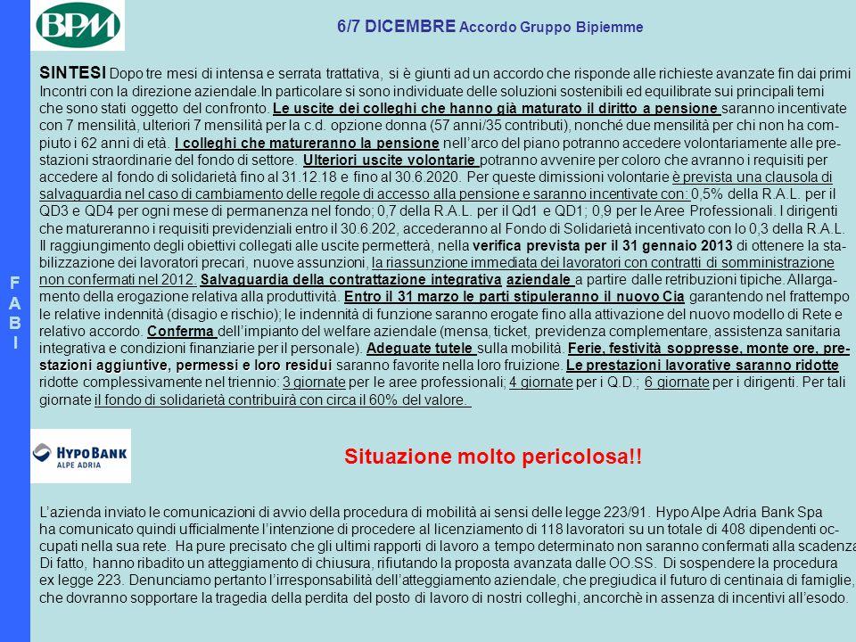 6/7 DICEMBRE Accordo Gruppo Bipiemme Situazione molto pericolosa!!