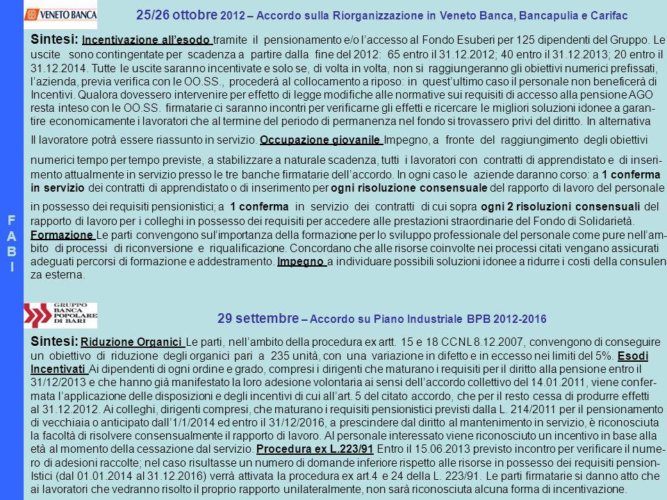29 settembre – Accordo su Piano Industriale BPB 2012-2016