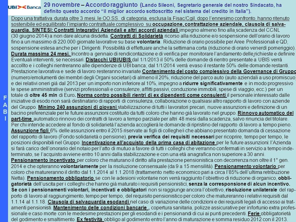 F A. B. I. 29 novembre – Accordo raggiunto (Lando Sileoni, Segretario generale del nostro Sindacato, ha.