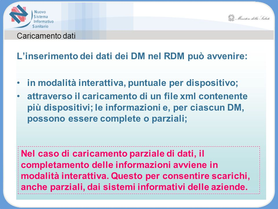 L'inserimento dei dati dei DM nel RDM può avvenire: