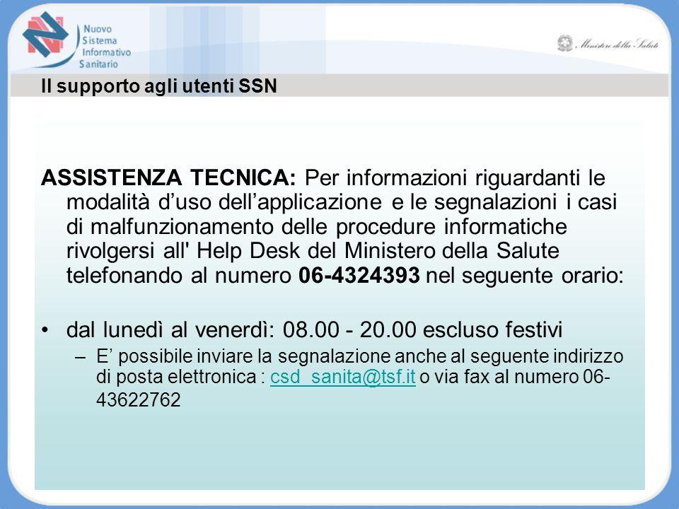 Il supporto agli utenti SSN