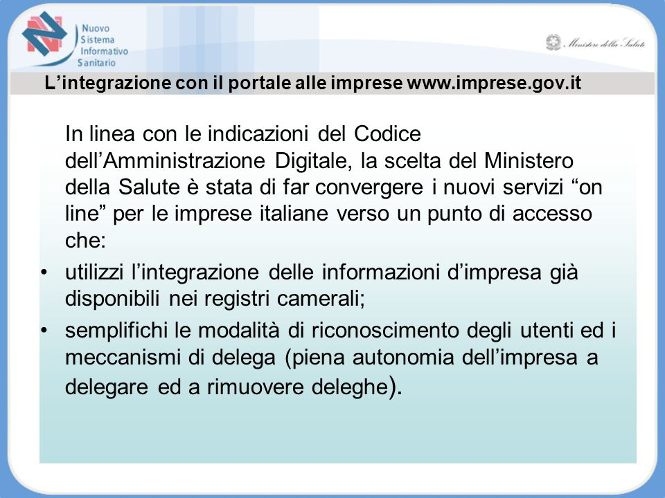 L'integrazione con il portale alle imprese www.imprese.gov.it