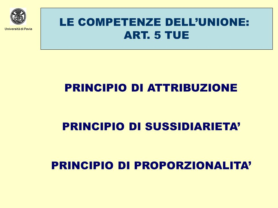 LE COMPETENZE DELL'UNIONE: ART. 5 TUE