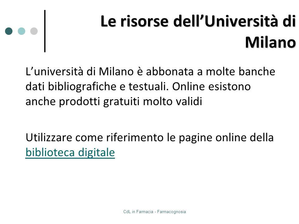 Le risorse dell'Università di Milano