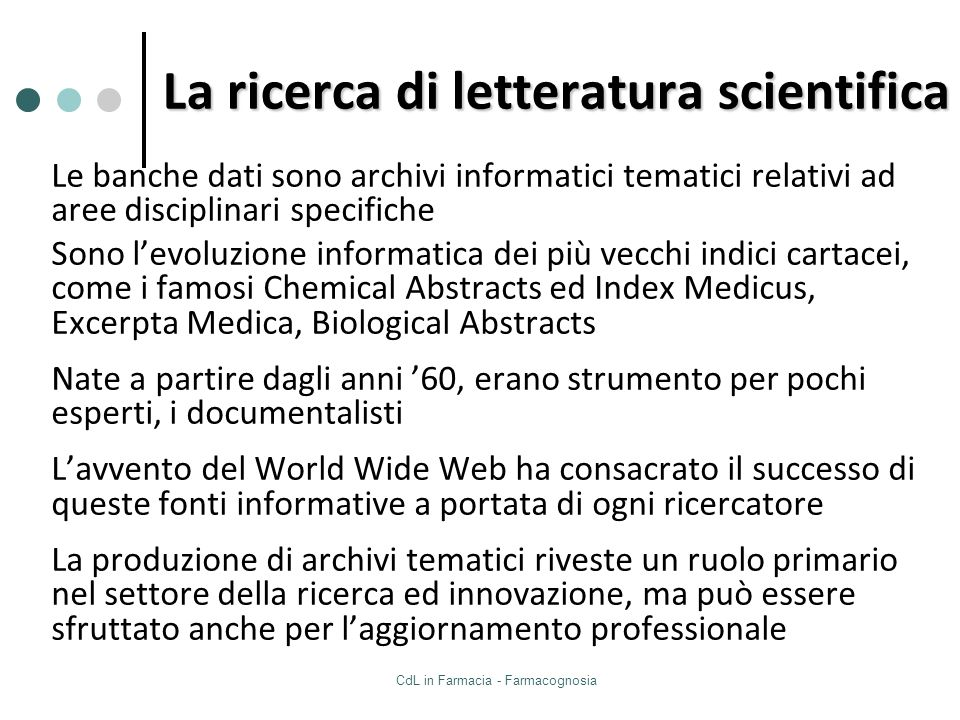 La ricerca di letteratura scientifica