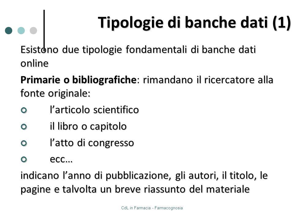 Tipologie di banche dati (1)