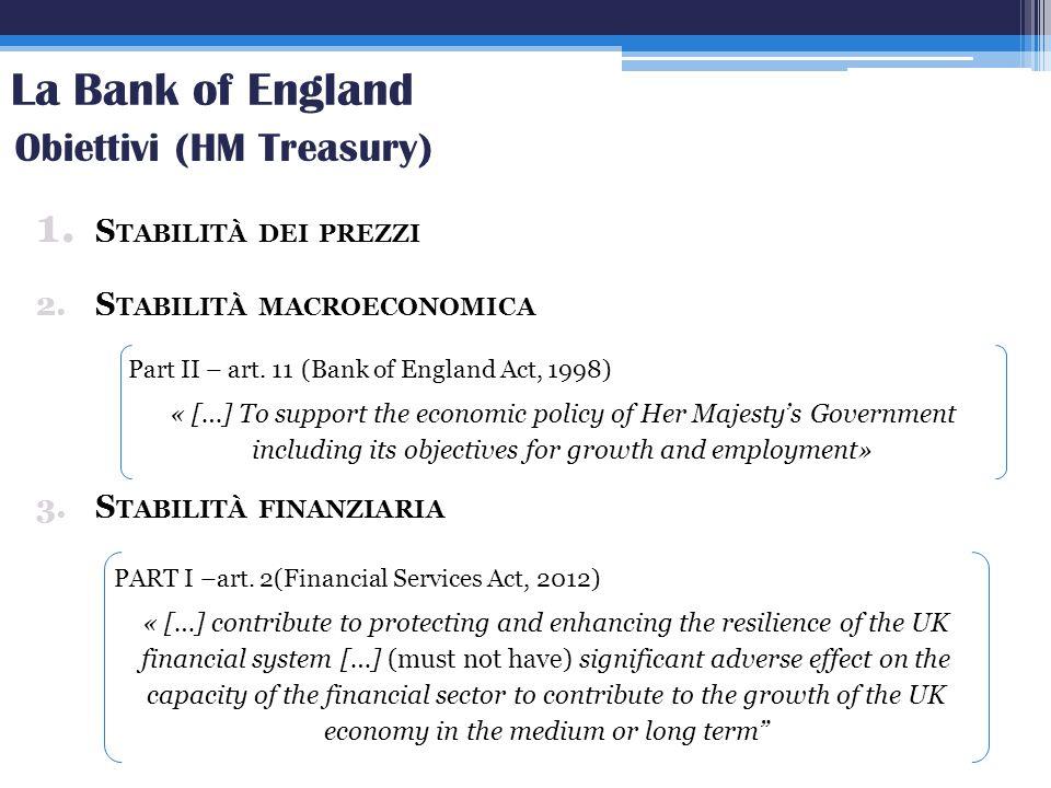 La Bank of England Obiettivi (HM Treasury) Stabilità dei prezzi
