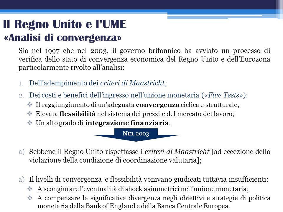 Il Regno Unito e l'UME «Analisi di convergenza»