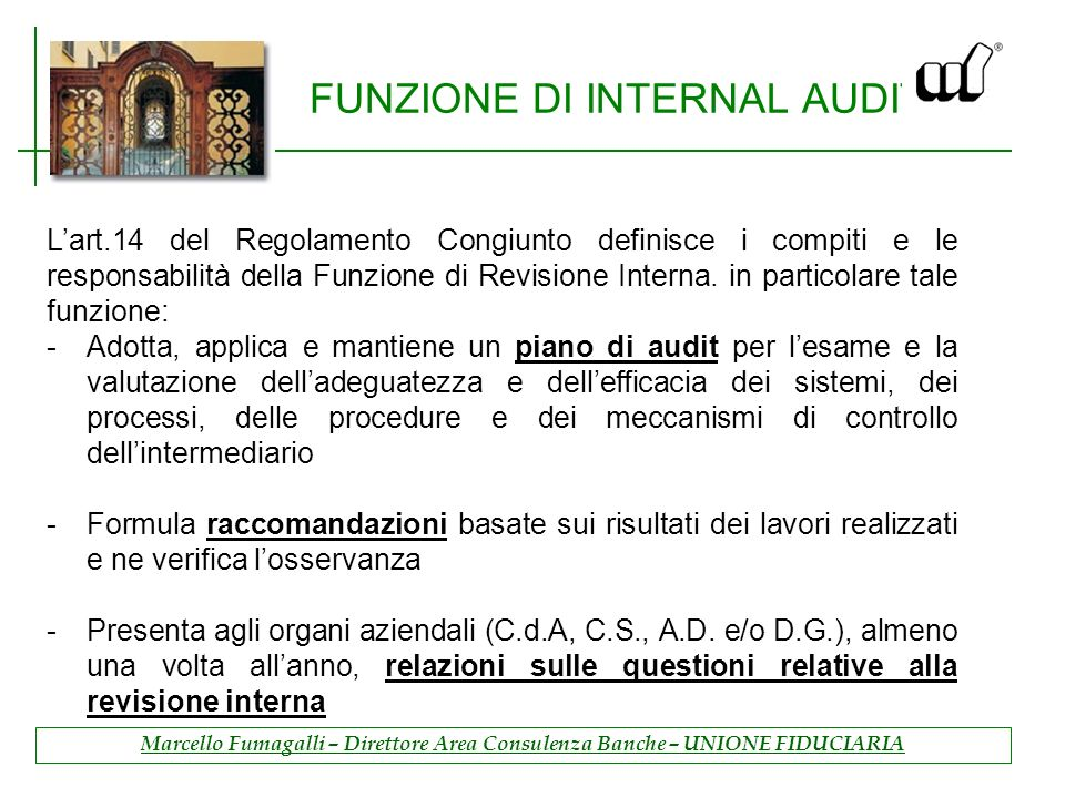 FUNZIONE DI INTERNAL AUDIT