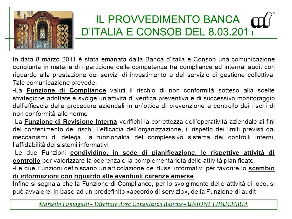 IL PROVVEDIMENTO BANCA D'ITALIA E CONSOB DEL 8.03.2011