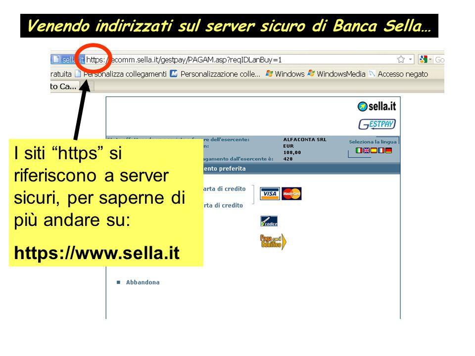 Venendo indirizzati sul server sicuro di Banca Sella…