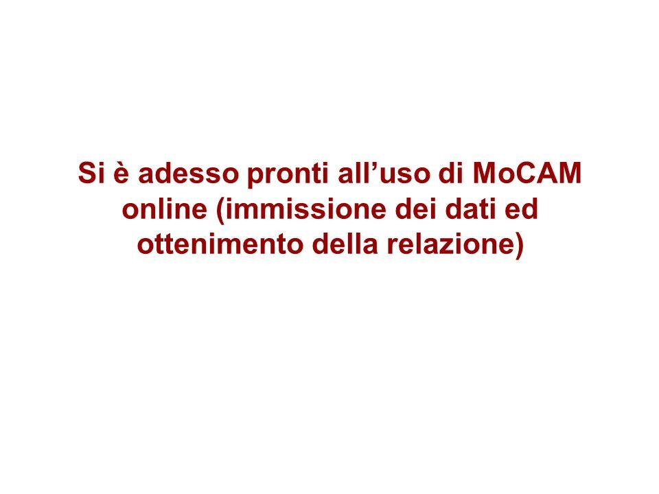 Si è adesso pronti all'uso di MoCAM online (immissione dei dati ed ottenimento della relazione)