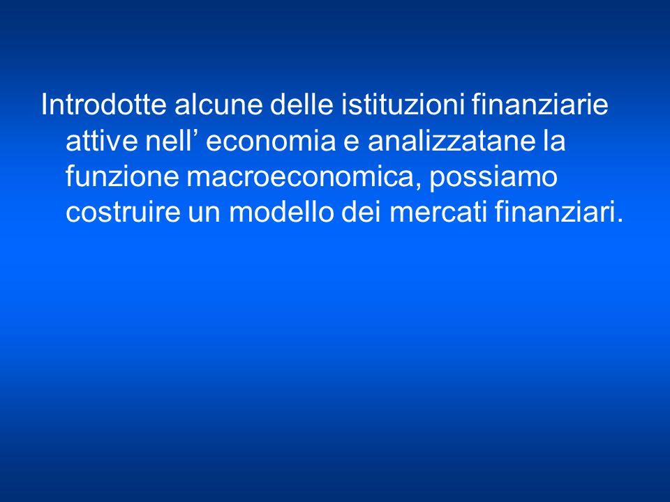 Introdotte alcune delle istituzioni finanziarie attive nell' economia e analizzatane la funzione macroeconomica, possiamo costruire un modello dei mercati finanziari.