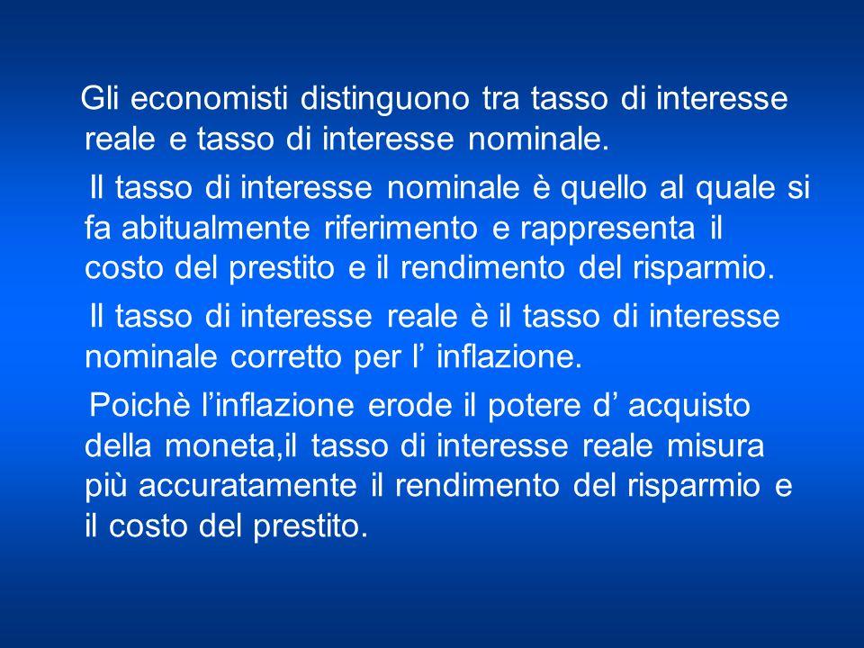Gli economisti distinguono tra tasso di interesse reale e tasso di interesse nominale.