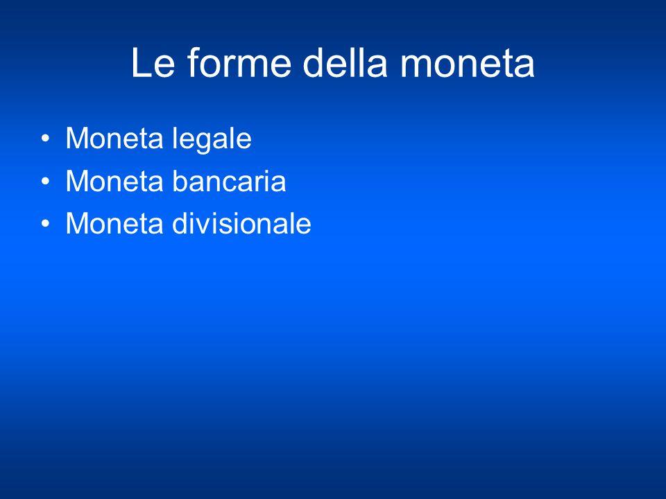 Le forme della moneta Moneta legale Moneta bancaria Moneta divisionale