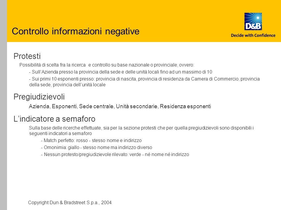 Controllo informazioni negative