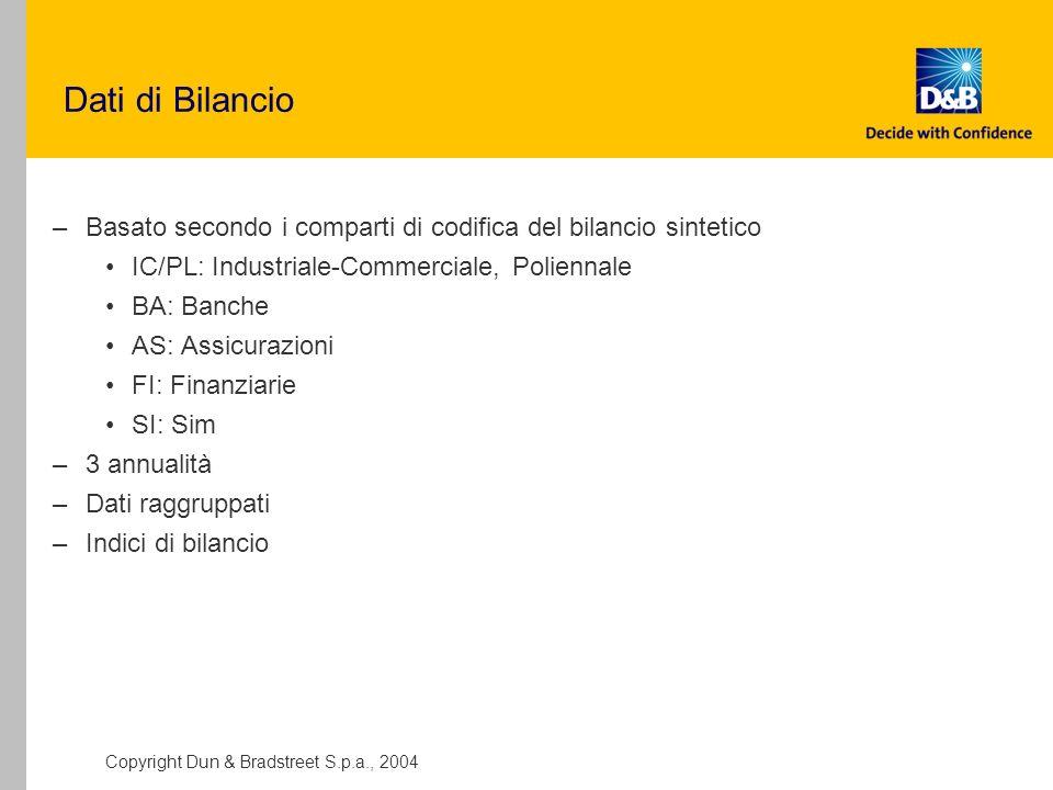 Dati di Bilancio Basato secondo i comparti di codifica del bilancio sintetico. IC/PL: Industriale-Commerciale, Poliennale.