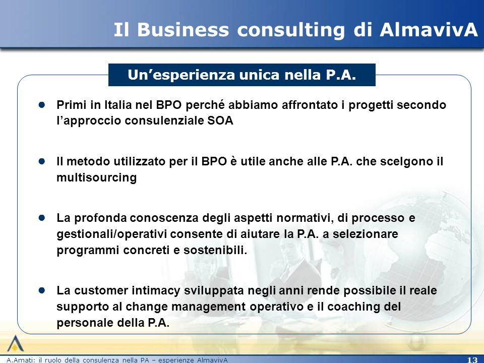 Il Business consulting di AlmavivA