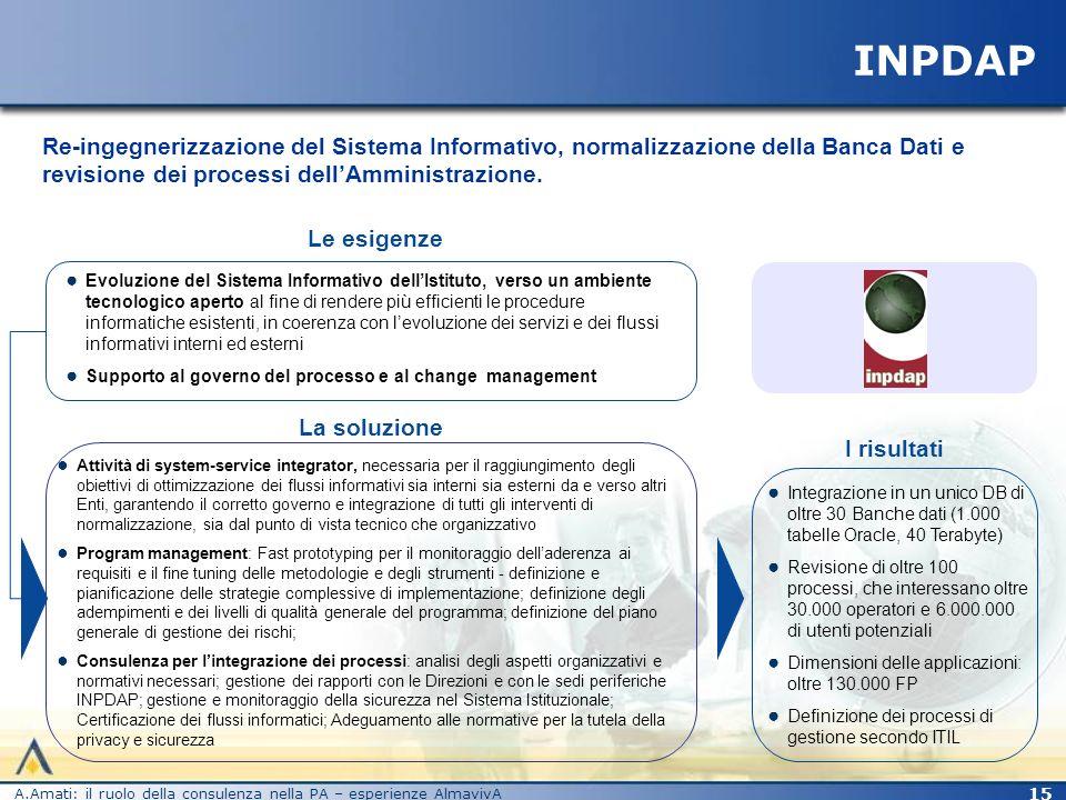 INPDAP Re-ingegnerizzazione del Sistema Informativo, normalizzazione della Banca Dati e revisione dei processi dell'Amministrazione.