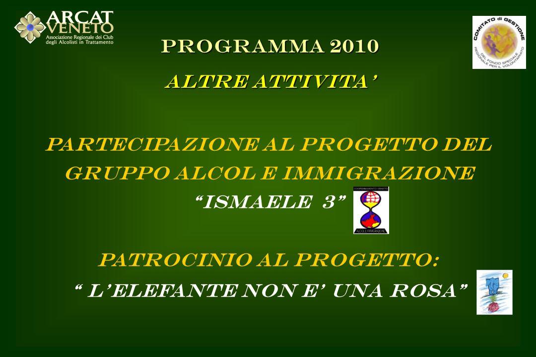 PARTECIPAZIONE AL PROGETTO DEL GRUPPO ALCOL E IMMIGRAZIONE