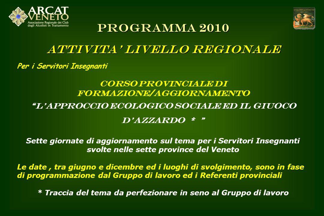 PROGRAMMA 2010 ATTIVITA' LIVELLO REGIONALE