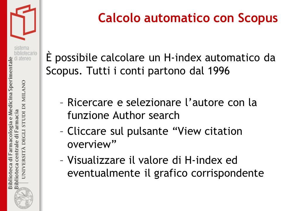 Calcolo automatico con Scopus