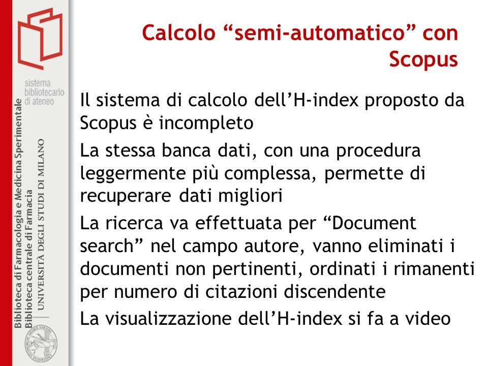 Calcolo semi-automatico con Scopus